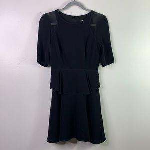 MILLY Black Silk Fit n Flare Tiered Skirt Dress 0